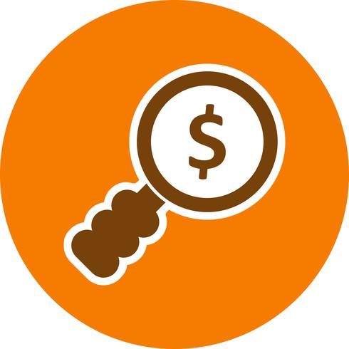 Ícone de vetor de pesquisa de dinheiro
