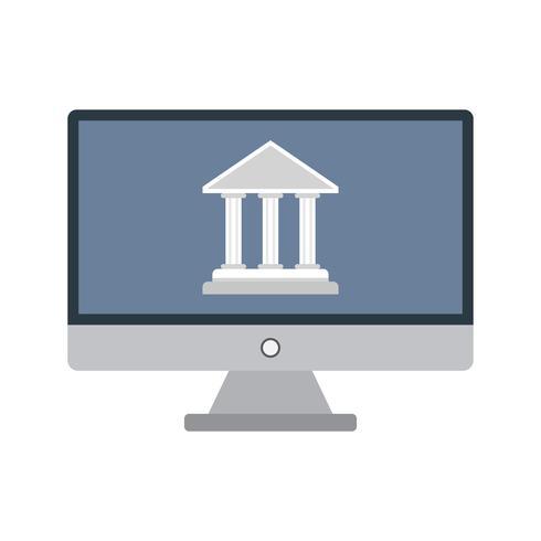 Icône de vecteur de services bancaires par Internet