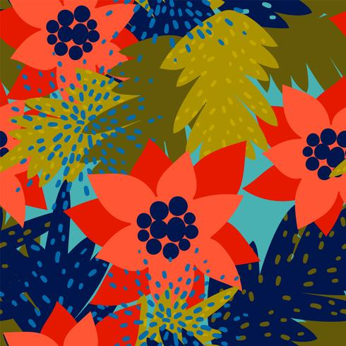 Christmas seamless pattern with Poinsettia.Trendy vintage style.