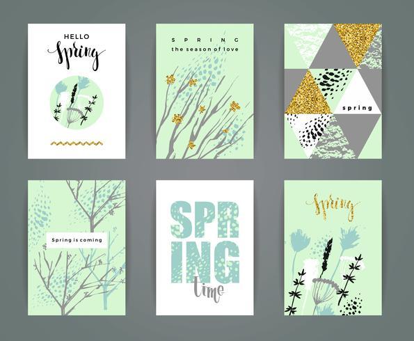 Set künstlerische kreative Frühlingskarten.