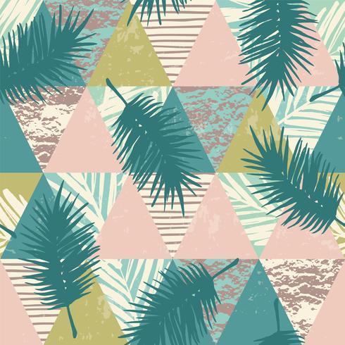 Modello esotico senza cuciture con piante tropicali e sfondo geometrico.