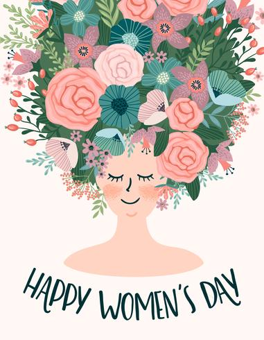 International Women s Day. Vector template with cute woman
