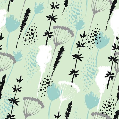 Motif floral de vecteur dans le style dessiné à la main avec des fleurs et des herbes