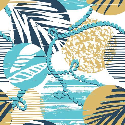 Modelo inconsútil del mar de moda con textura de la mano y elementos geométricos. vector