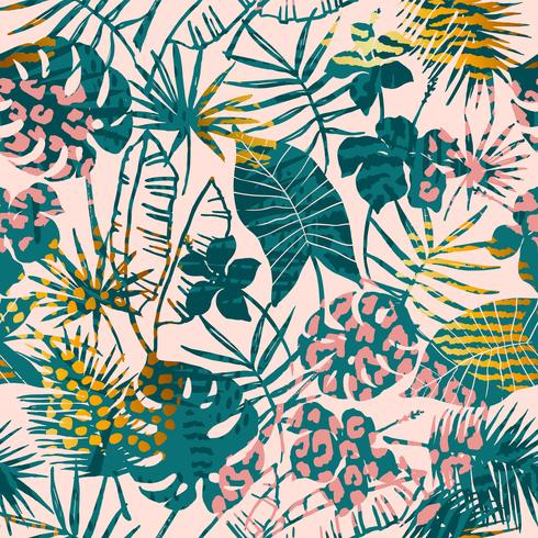 Trendy seamless exotic pattern tropical plants, animal prints and hand drawn textures.