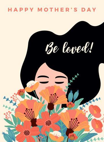 Feliz día de la madre. Ilustración de vector con mujer y flores.