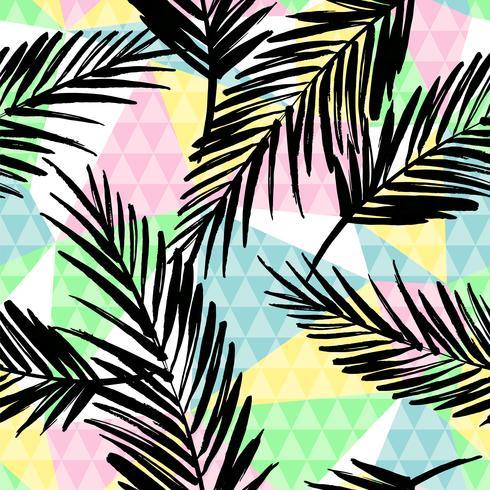 Trendy naadloos exotisch patroon met palm en geometrische elementen.