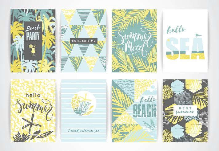 Set van zomer kaarten met hand-tekening elementen.