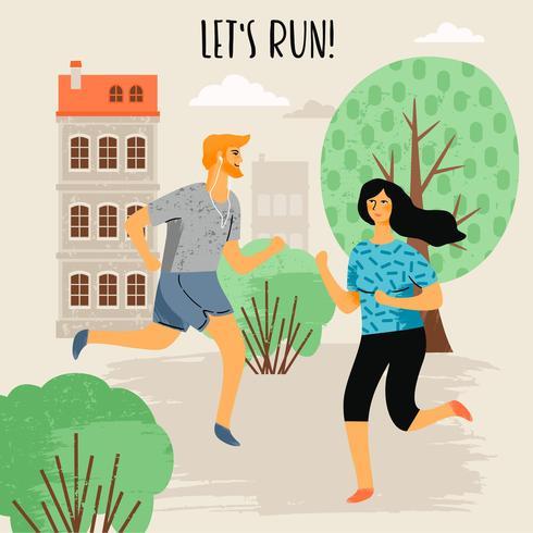 Ilustración vectorial de mujer y hombre corriendo. Estilo de vida saludable.