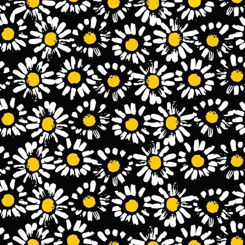 Abstrakt blommigt sömlöst mönster med kamomill. Trendiga handdragen texturer vektor