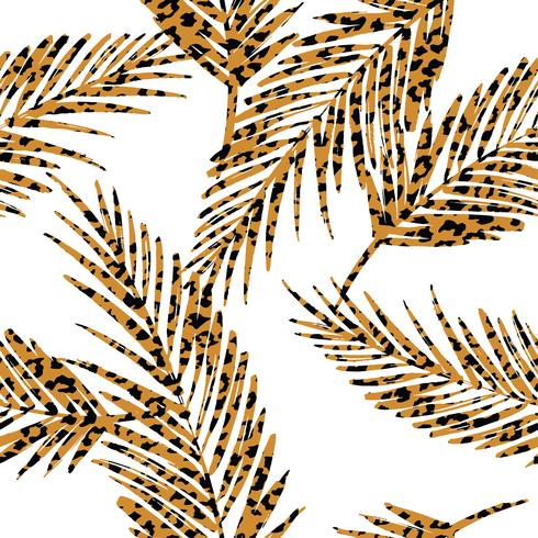 Nahtloses exotisches Muster mit Palmblättern und Tiermuster.