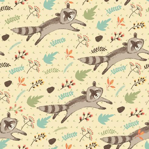 Illustration vectorielle de raton laveur mignon.