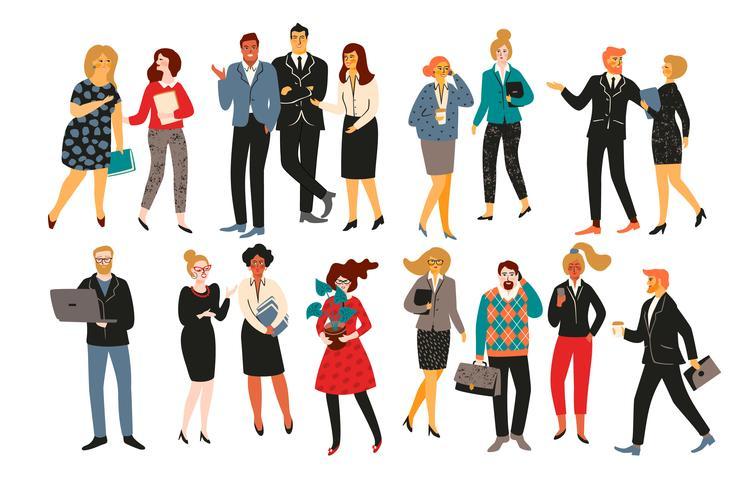 Vectiorillustratie van bureaumensen. Kantoormedewerkers, zakenmensen, managers. vector