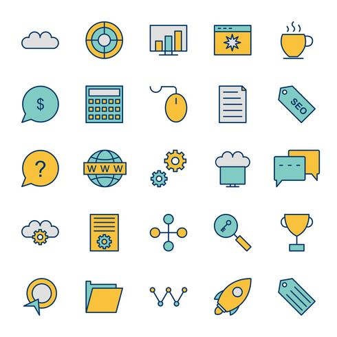 Satz von Vector SEO Search Engine Optimization Icons