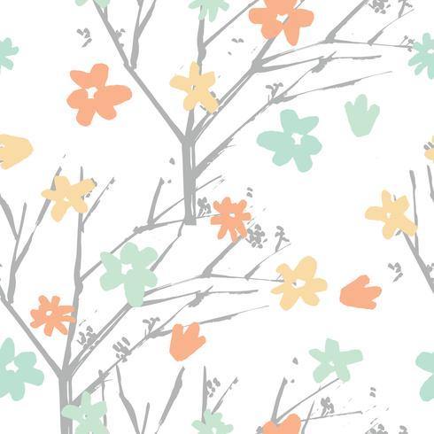 Vector gezeichnete Art des Blumenmusters in der Hand mit Blumen und branc