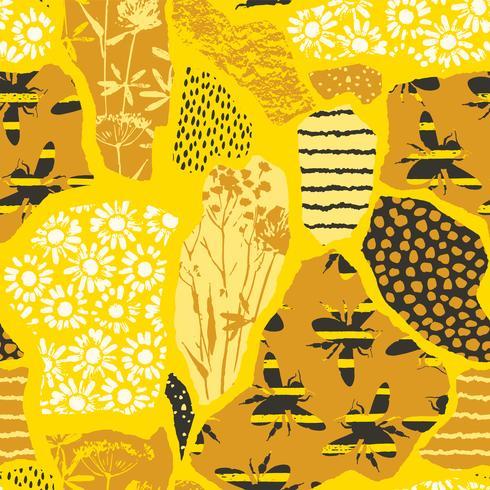 Nahtloses geometrisches Muster mit Biene. Modernes abstraktes Honigdesign.