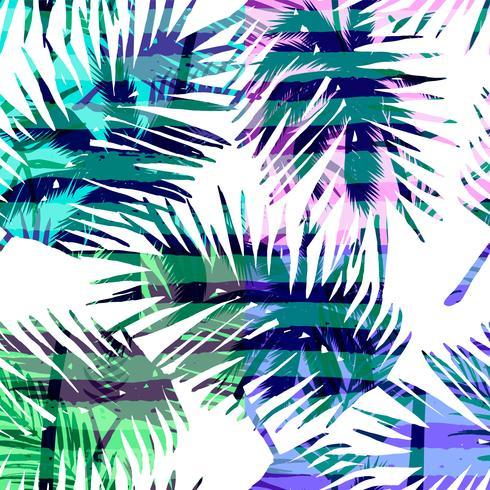 Naadloos exotisch patroon met tropische palm in heldere kleur.