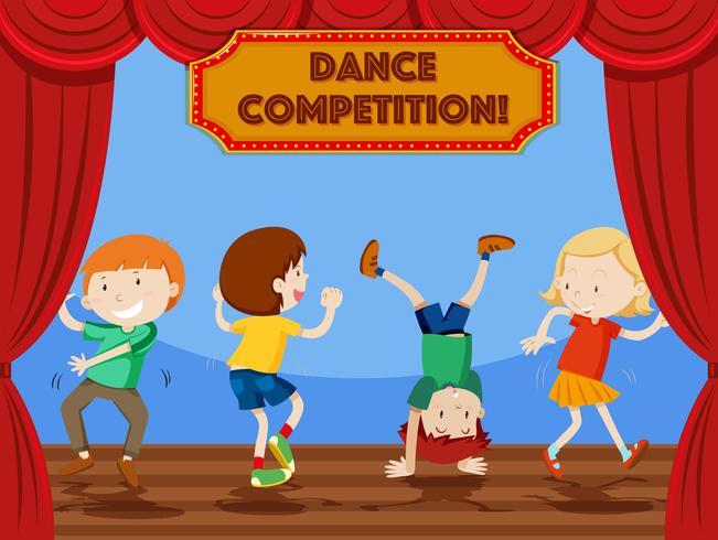 Barn dans tävling scen