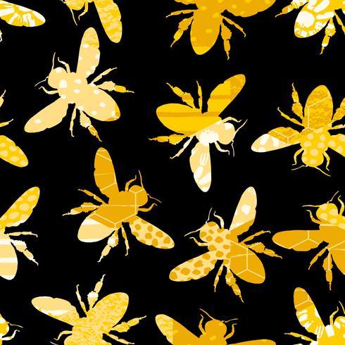 Patrón geométrico inconsútil con la abeja vector