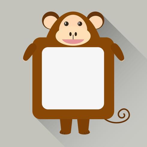 Plantilla de nota con carácter de mono