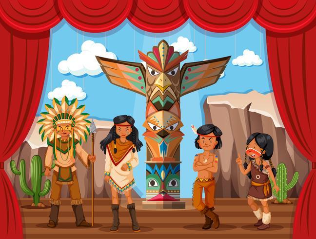 Tribù nativo americano sul palco