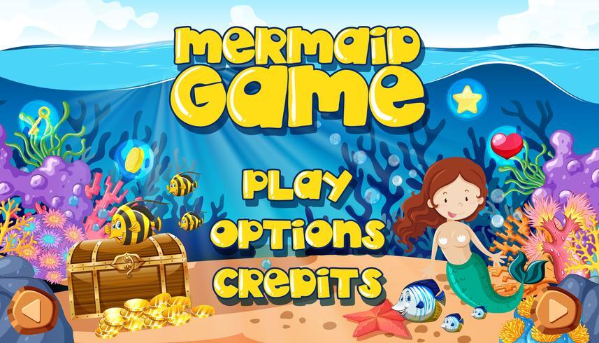 Een zeemeermin onderwaterwereld spel Themplate