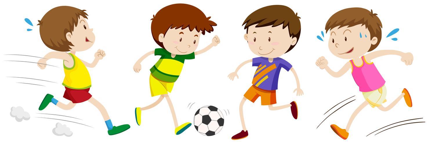 Garçons pratiquant un sport différent