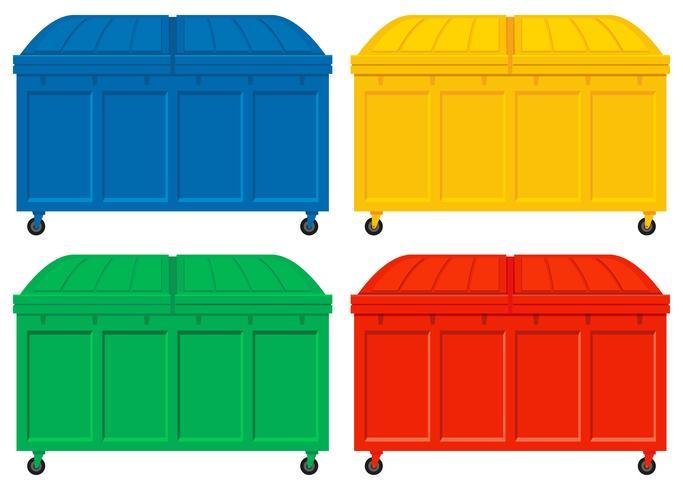 Quatro caminhões de lixo com rodas vetor