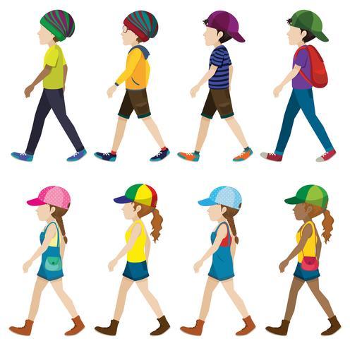 Personajes masculinos y femeninos caminando.