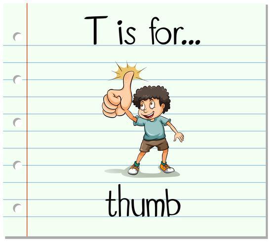 Flashcard-bokstaven T är för tummen