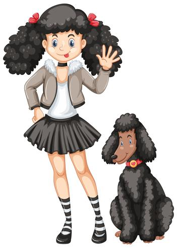 Little girl and poodle dog