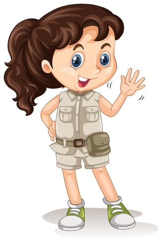 Una chica de safari en el fondo blanco vector