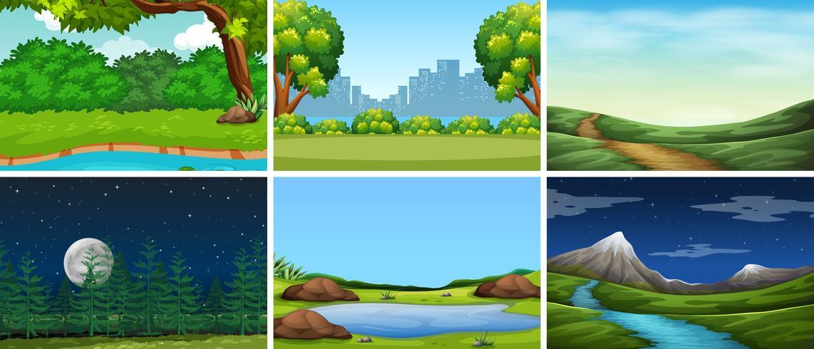 Set van natuur achtergrond