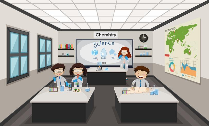 Mensen binnen chemielaboratorium