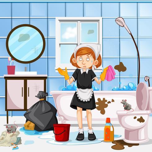 Um, preocupado, empregada, limpeza, banheiro