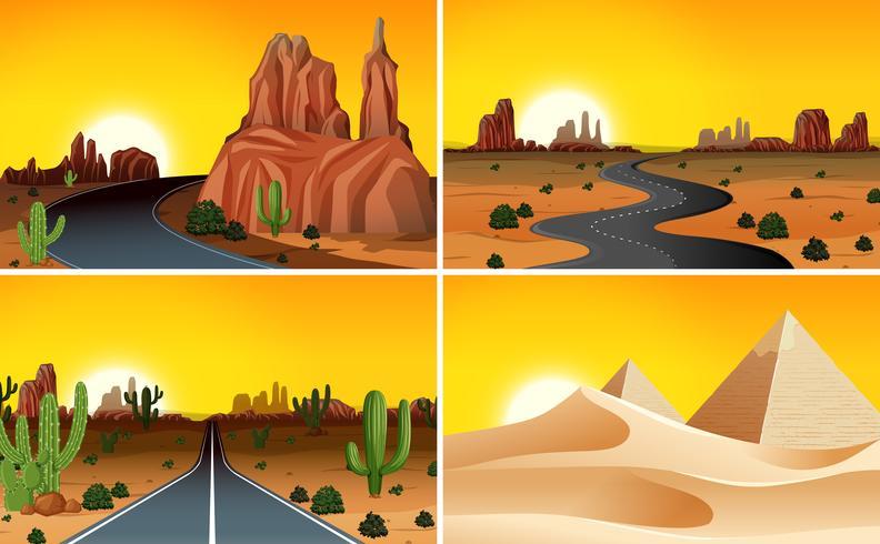 Set di paesaggio desertico vettore