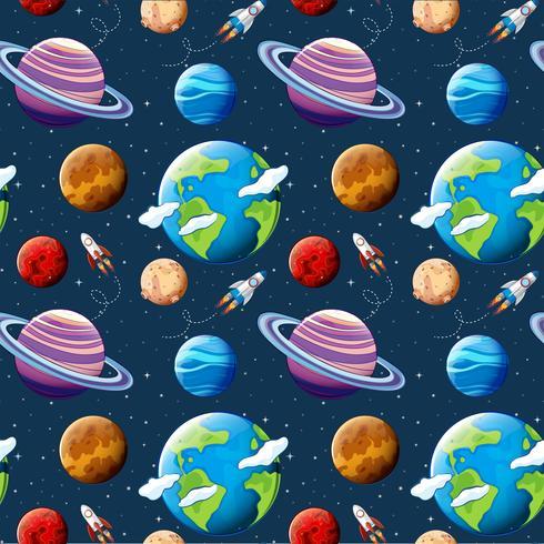 Naadloze patroonplaneten en ruimte