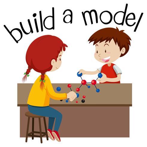 Wordcard pour construire un modèle avec deux enfants qui jouent