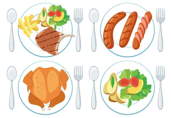 En uppsättning av hälsosam mat