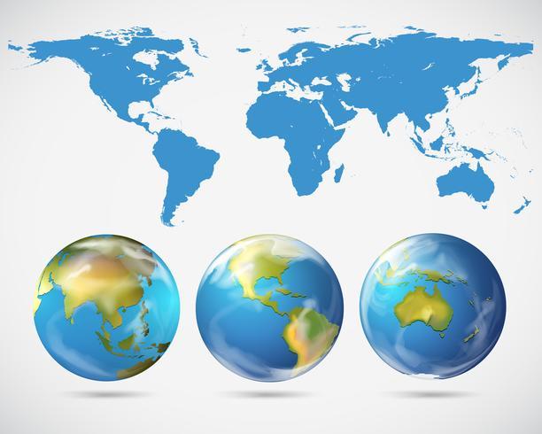 Wereldkaart en verschillende delen van de wereld