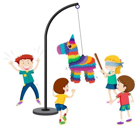 niños jugando a la fiesta de piñata juego