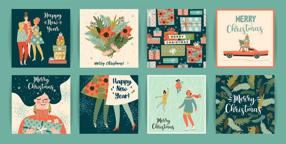 Jul och gott nytt år mallar. Trendig retrostil.