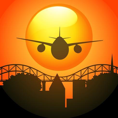 Silhuett scen med flygplan som flyger över bron