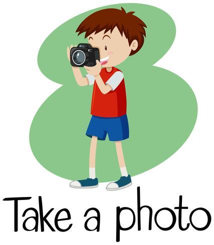 Wordcard voor neem een foto met jongen die foto met camera neemt