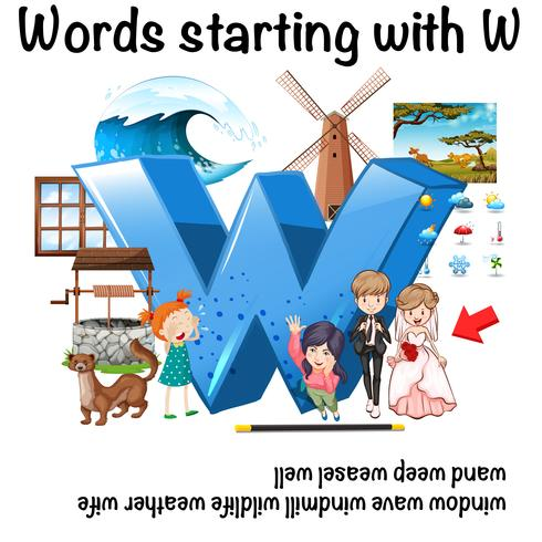English word starting with W illustration
