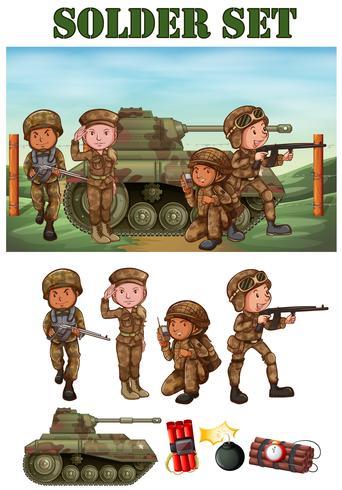 Soldados com arma no campo