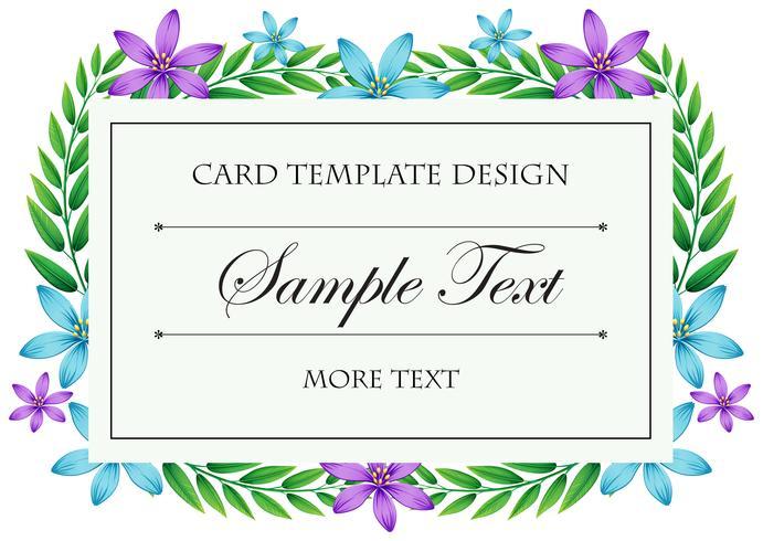Plantilla de tarjeta con marco de flores azul y púrpura