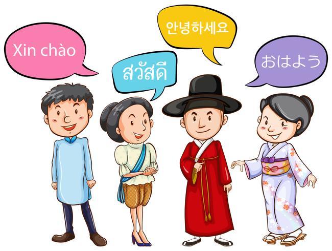 Les gens de différents pays saluant