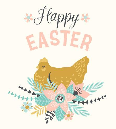Felices Pascuas. Plantilla de vector para tarjeta, cartel, folleto y otros usuarios.