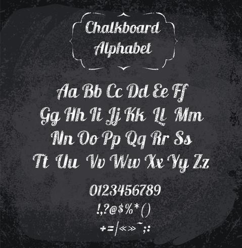 Vektorillustration des mit Kreide versehenen Alphabetes
